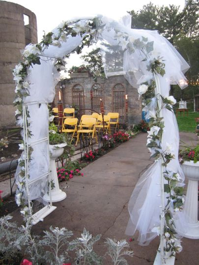 Wedding arch and seating area