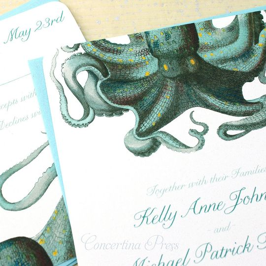Green Octopus wedding invitations for an aquarium wedding