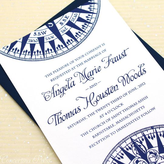 Nautical compass wedding invitations for a Cape Cod wedding