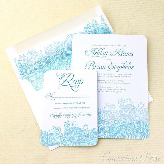 waves wedding invitations - perfect for a beach wedding or destination wedding!