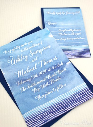 Watercolor wedding invitations for your beach wedding
