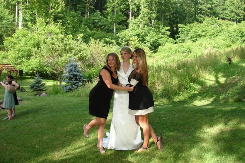 Bride and the bridesmaids having fun