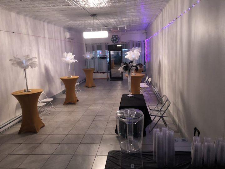 Reception with purple lighting