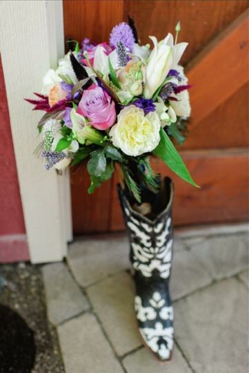 Bouquet in boot