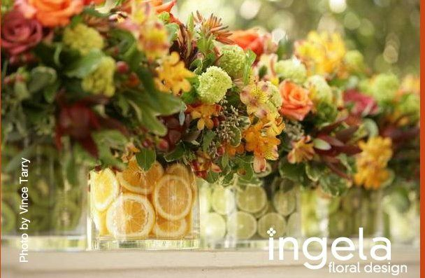 Fruit filled vases centerpeices