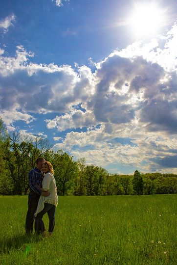 Getting engaged under blue skies