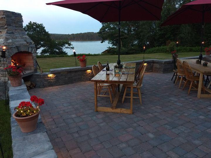 An evening scene on the patio