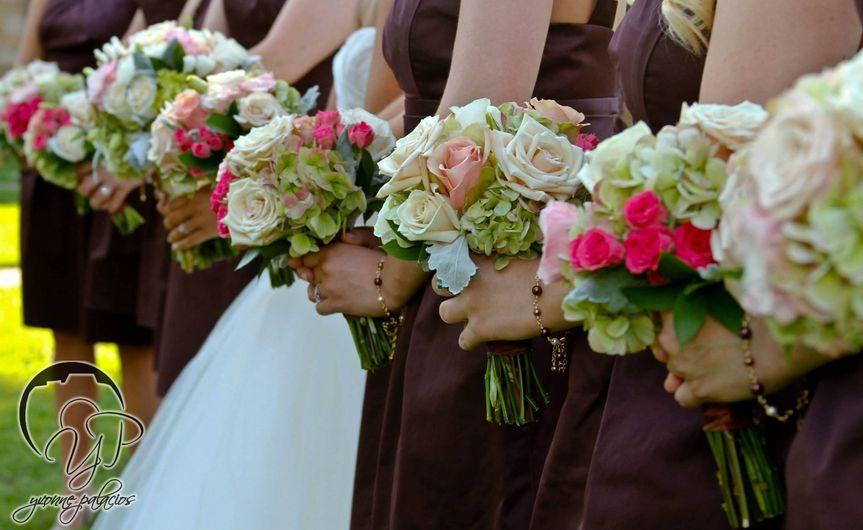 Bride and bridesmaids' bouquets
