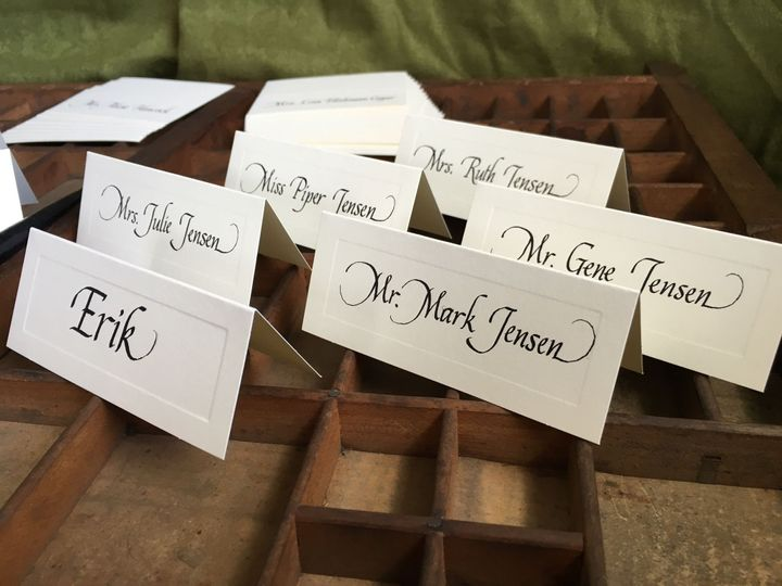 Place cards and escort cards may be lettered with custom inks. #placecards #escortcards #calligraphy...