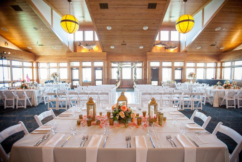 Ceremony and Reception set-up at Jennette's Pier