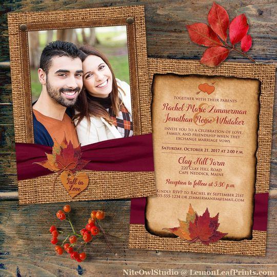 Autumn leaves wedding set