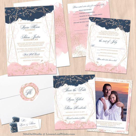 Navy blush wedding invite set