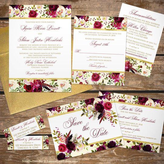 Rose floral wedding invite set