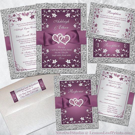 Plum jewel wedding invitations