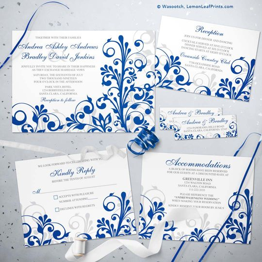 Royal blue floral wedding set