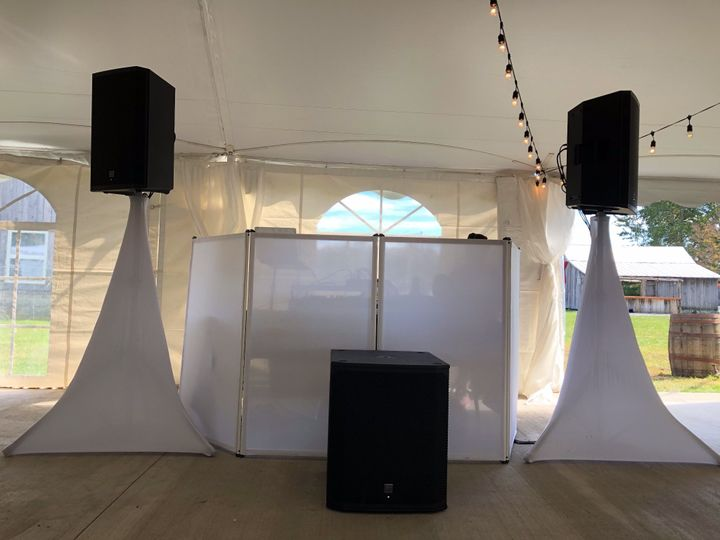 Tent wedding with sub-woofer