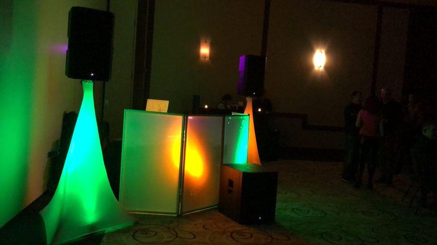 Lights around the DJ booth