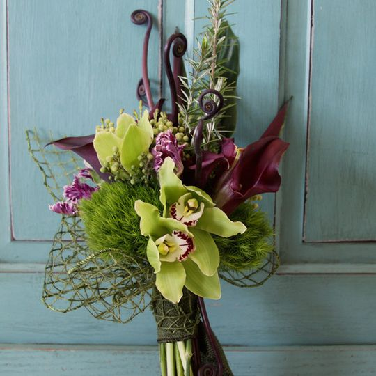 Green and purple arrangement