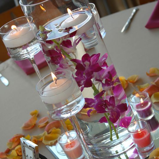 Orchids and candles