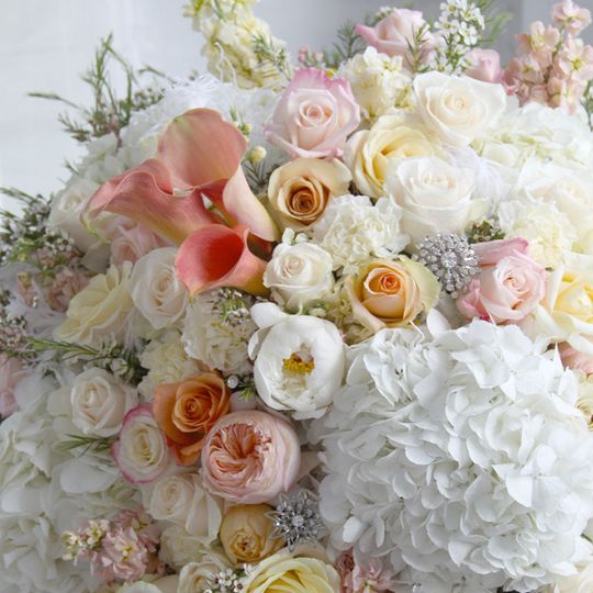 Pastel colors on bouquet