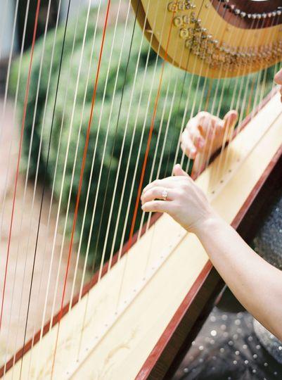 Harpist playing harp