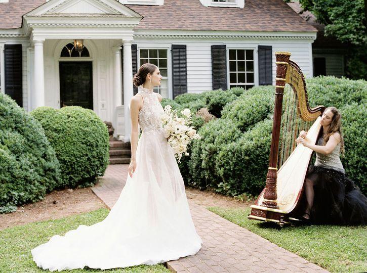 Bride and Harpist