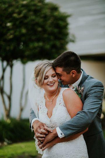 Joyous newlyweds