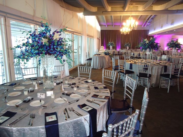 Blue round tables