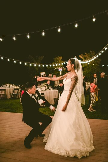 Groom and bride having fun