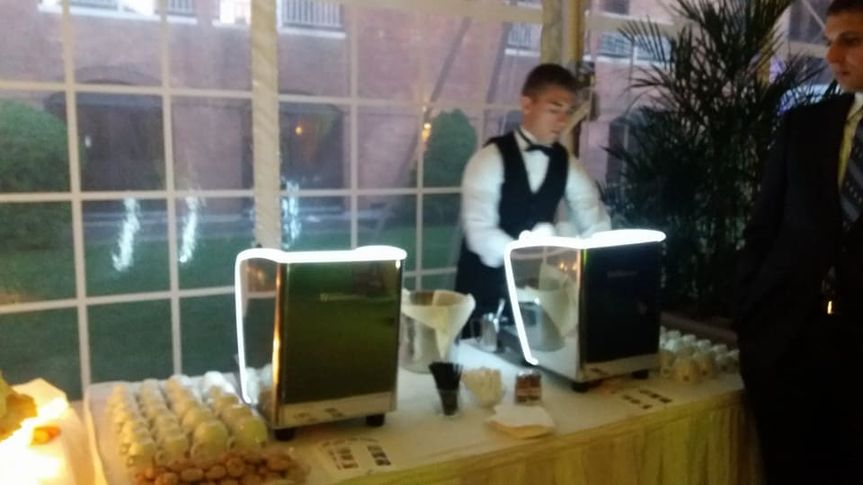 Baristas will serve your guests espresso and cappuccino using Illy, Italy's finest coffee.  Very...