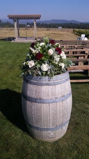 Rose and dahlia centerpiece