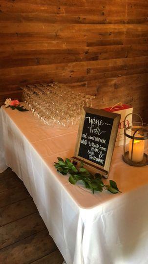 The wine bar for a barn wedding