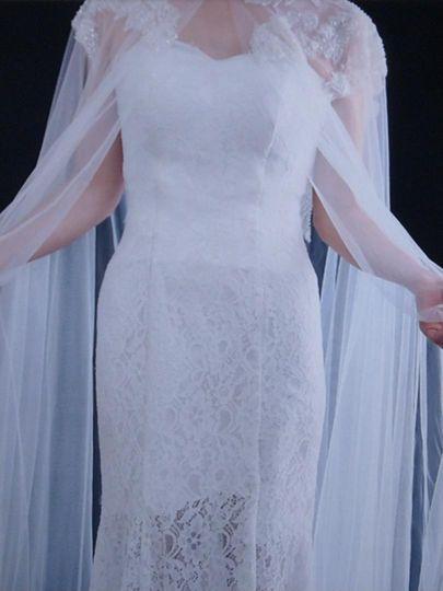 Bridal gown cape 10 ft drape