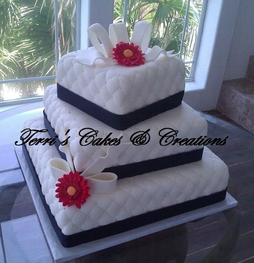 Tiers 1 & 3- strawberry cake w/Bavarian cream filling, tier 2- French vanilla cake w/chocolate...