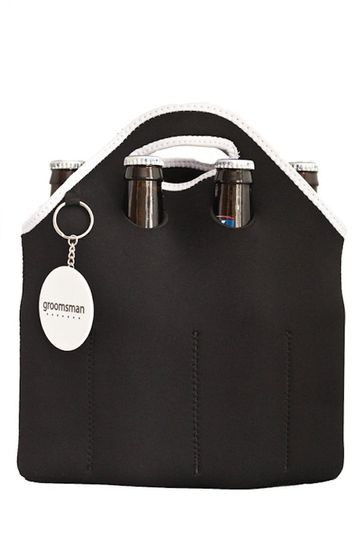 The perfect groomsmen gift! A 6 bottle neoprene cooler complete with bottle opener.