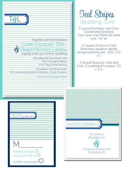 teal wedding invites, striped wedding invitations