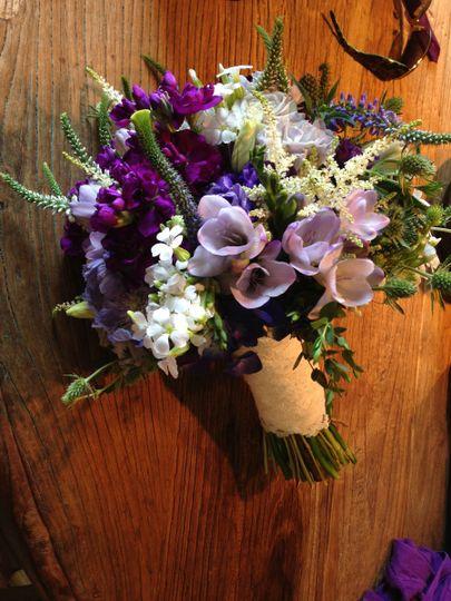 purples and lavendar bridal bouquet