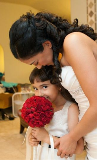 The bride with flower girl