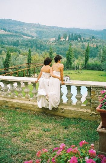 Jeannie & Lisa take a private moment to take in the views of Rufina, Italy. They hosted 30 + friends...