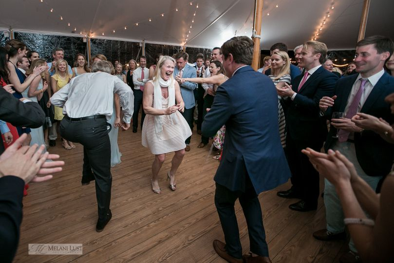 Dancing under the tent.