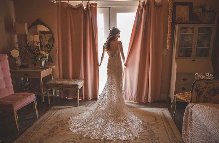 The bride in her dress