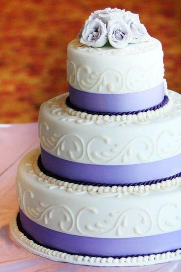 White and purple stripe cake