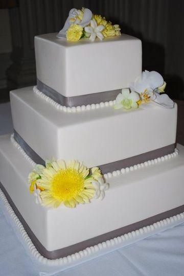 Square three layered cake