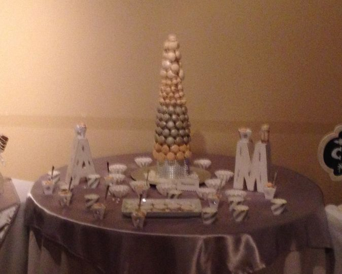 Macaroon tower, alfajores, wedding cookies and lime charlotte shots