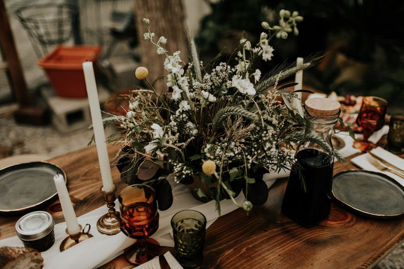 Table centerpiece with candle