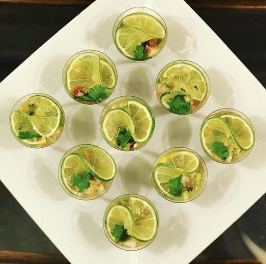 Butler-Passed Hor d'oeuvre:  Shrimp Ceviche Shooters