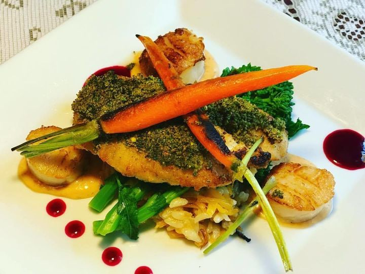 Plated Entree: Pistachio-Crusted Black Grouper, Butternut Squash Risotto, Seared Scallops with a...