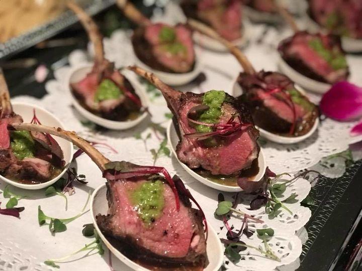 Butler-Passed Hor d'oeuvre:   Lamb Lollipop~ Whole Grain Dijon Demi with Pea & Mint Coulis
