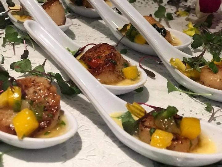 Butler-Passed Hor d'oeuvre:   Pan-Seared Bay Scallop~ Citrus Beurre Blanc, Mango Chutney