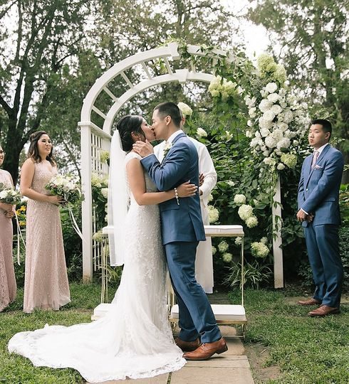 Wedding arch in white flowers